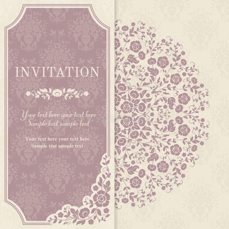 Tarjeta de la invitación con las flores en un estilo popular stock de ilustración