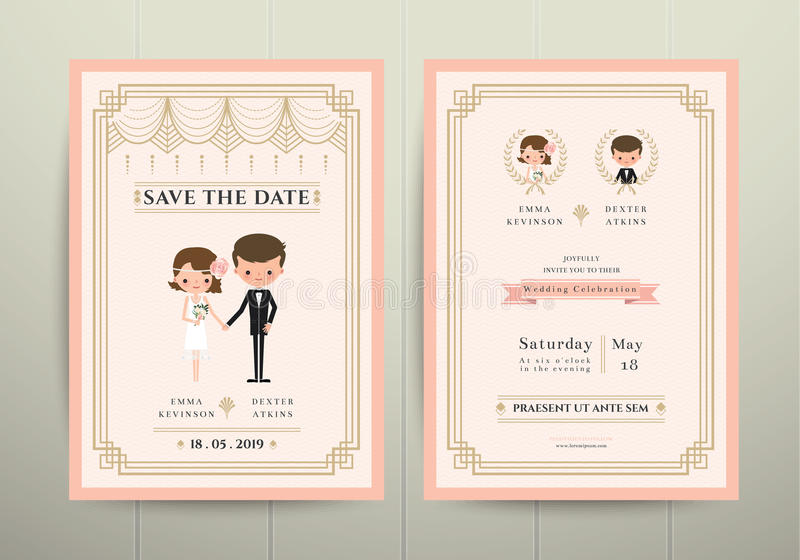 Tarjeta de la invitación de Art Deco Cartoon Couple Wedding ilustración del vector