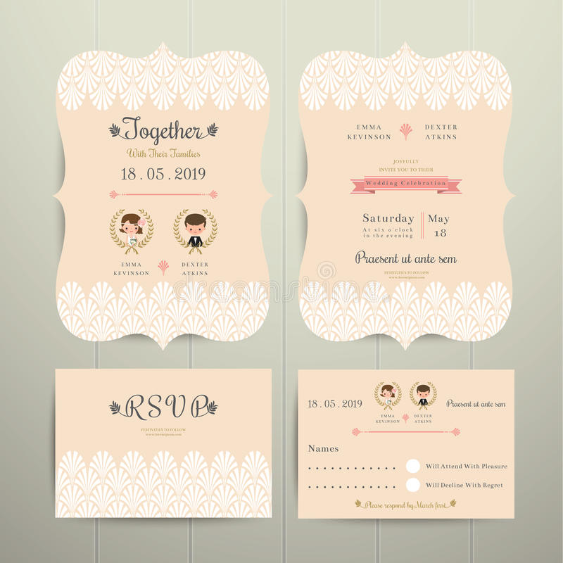 Tarjeta de la invitación de Art Deco Cartoon Couple Wedding y sistema de RSVP libre illustration
