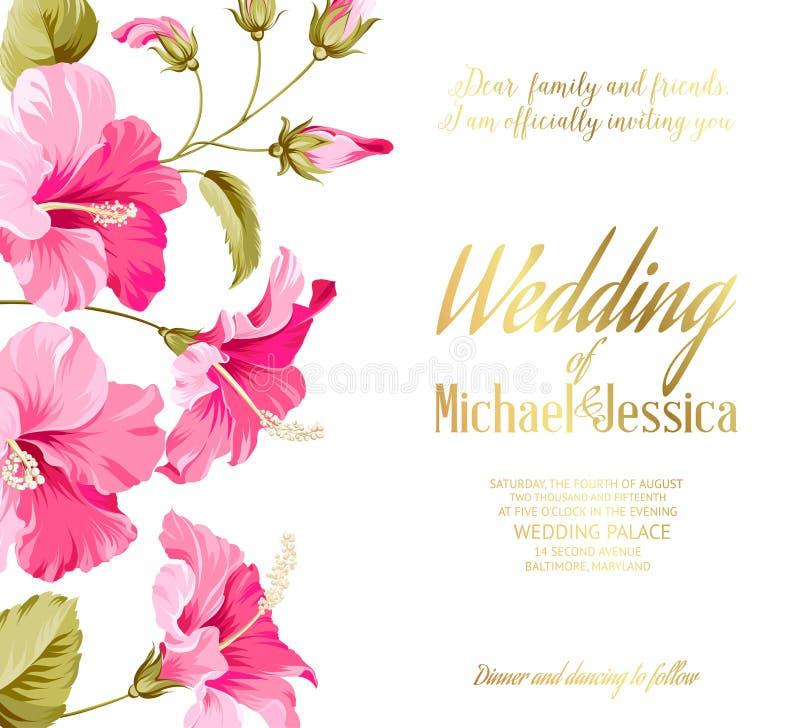Tarjeta de la invitación de la boda stock de ilustración