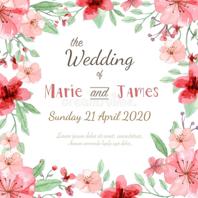 Tarjeta de la invitación de la boda ilustración del vector