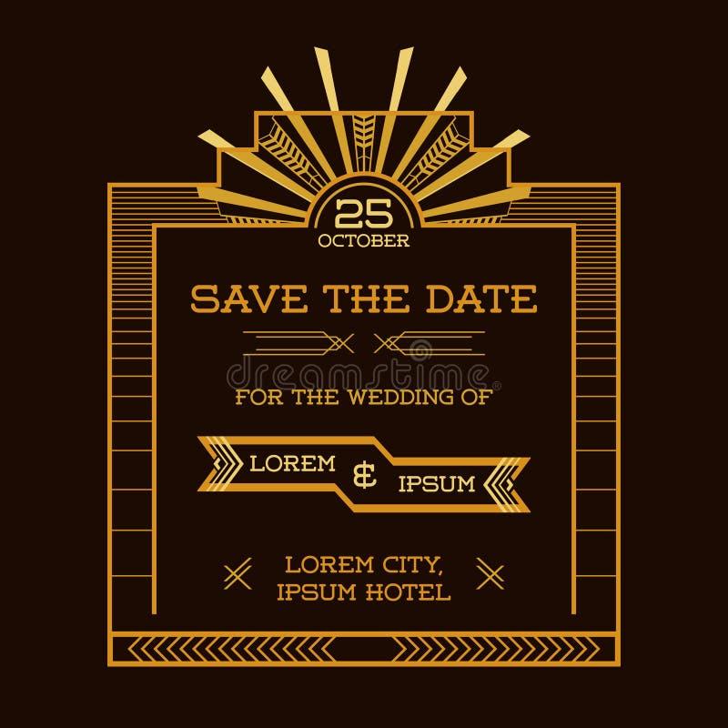 Tarjeta de la invitación de la boda - Art Deco Style libre illustration