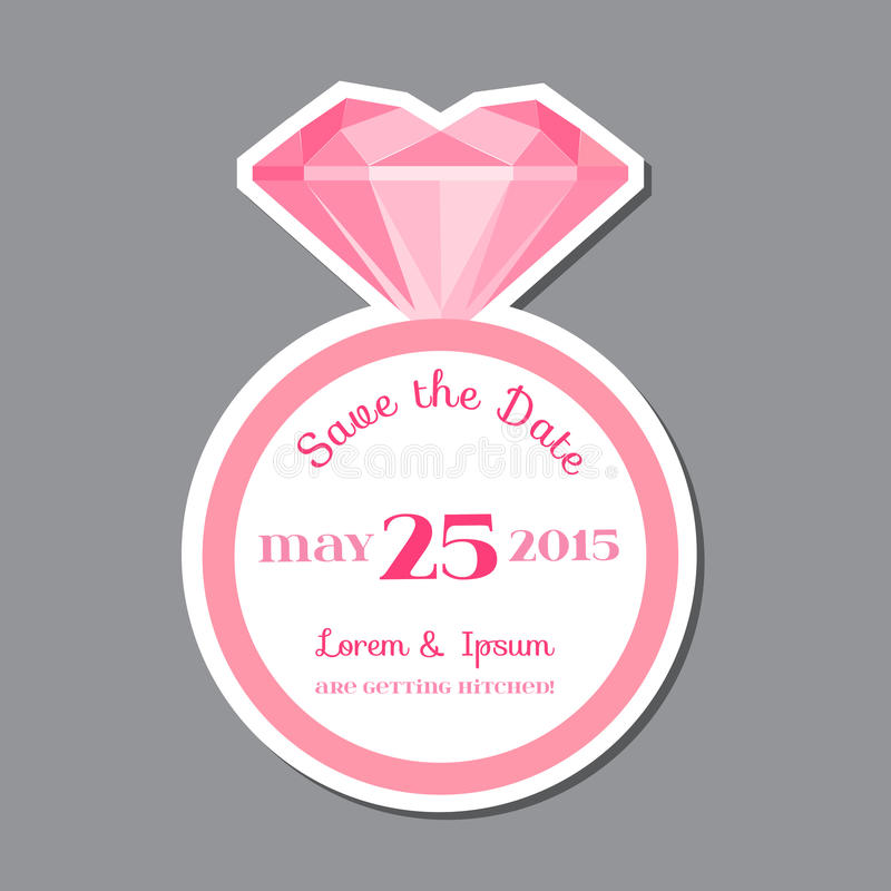 Tarjeta de la invitación de la boda con Diamond Ring libre illustration