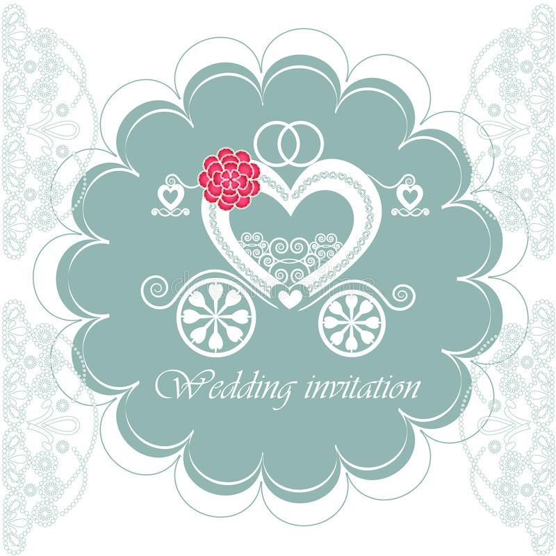 Tarjeta de la invitación de la boda con el carro stock de ilustración
