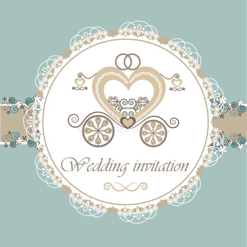 Tarjeta de la invitación de la boda con el carro libre illustration