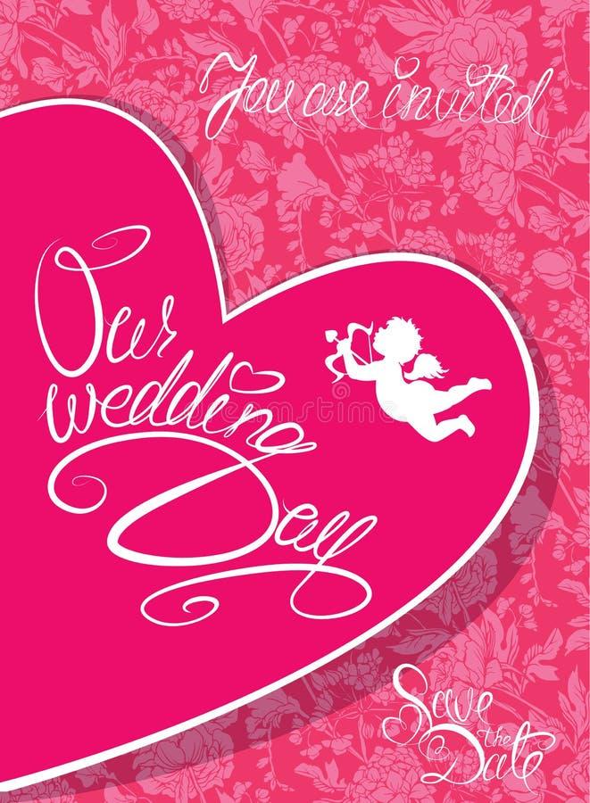 Tarjeta de la invitación de la boda con el corazón, el ángel y el texto caligráfico ilustración del vector