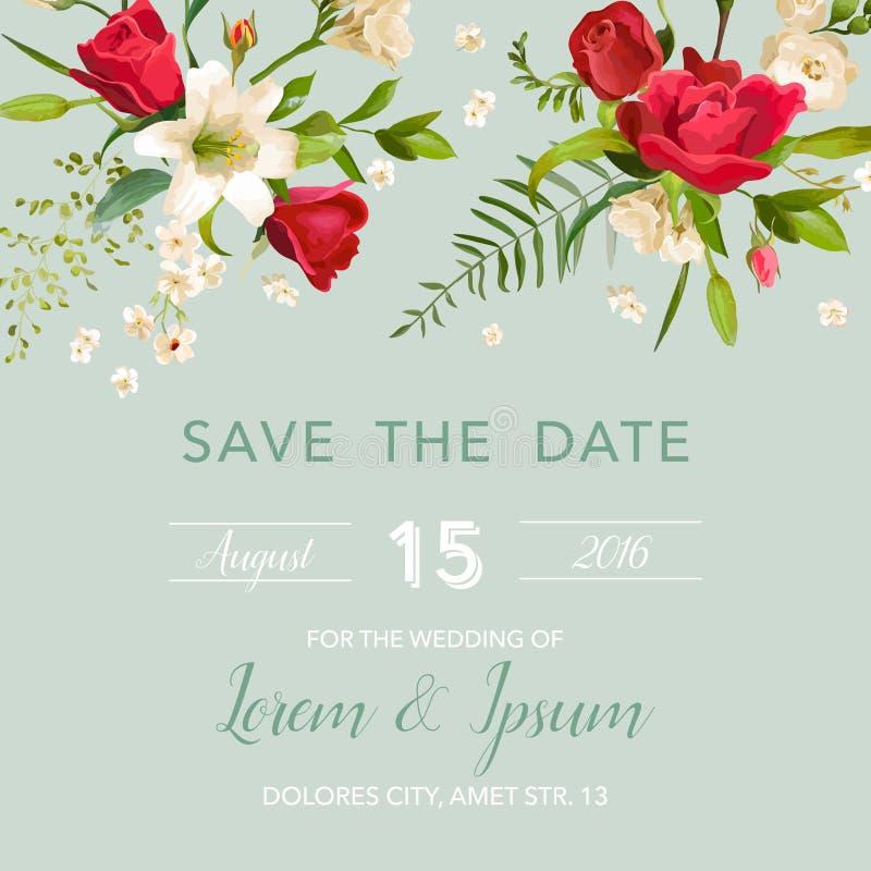 Tarjeta de la invitación de la boda con el fondo de las flores del lirio y de las rosas stock de ilustración