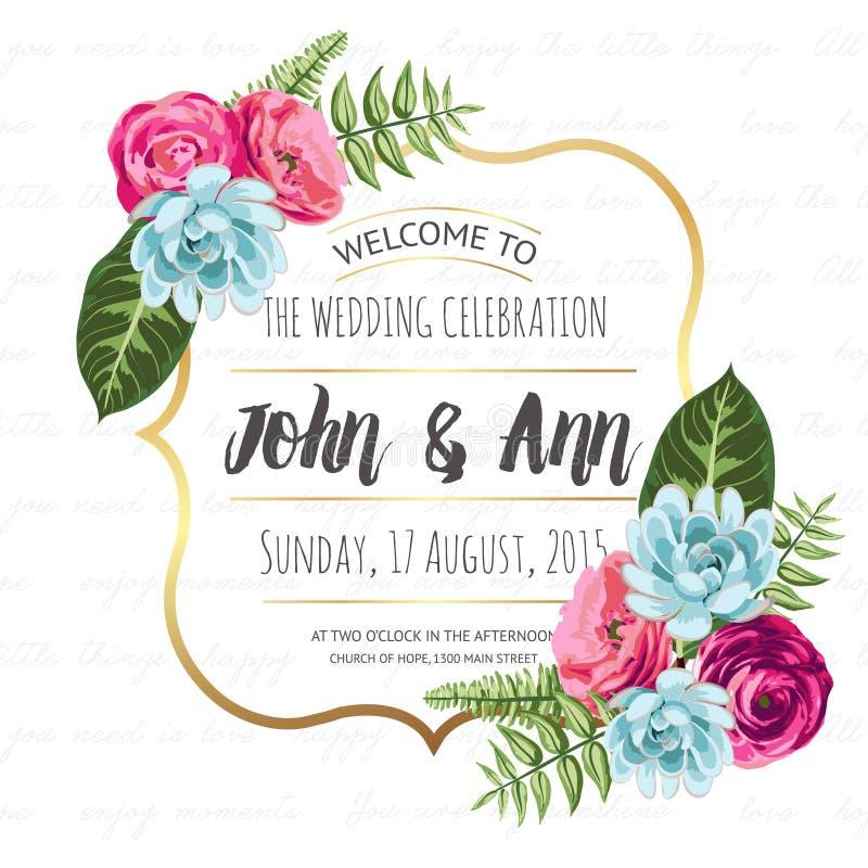 Tarjeta de la invitación de la boda con las flores pintadas stock de ilustración