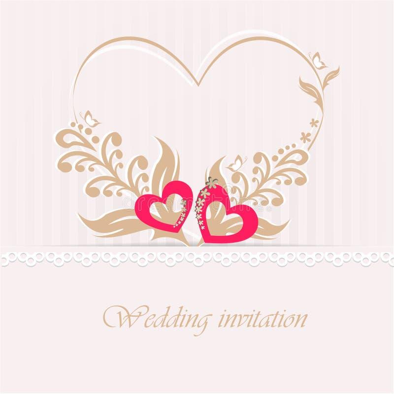 Tarjeta de la invitación de la boda con los corazones decorativos. stock de ilustración