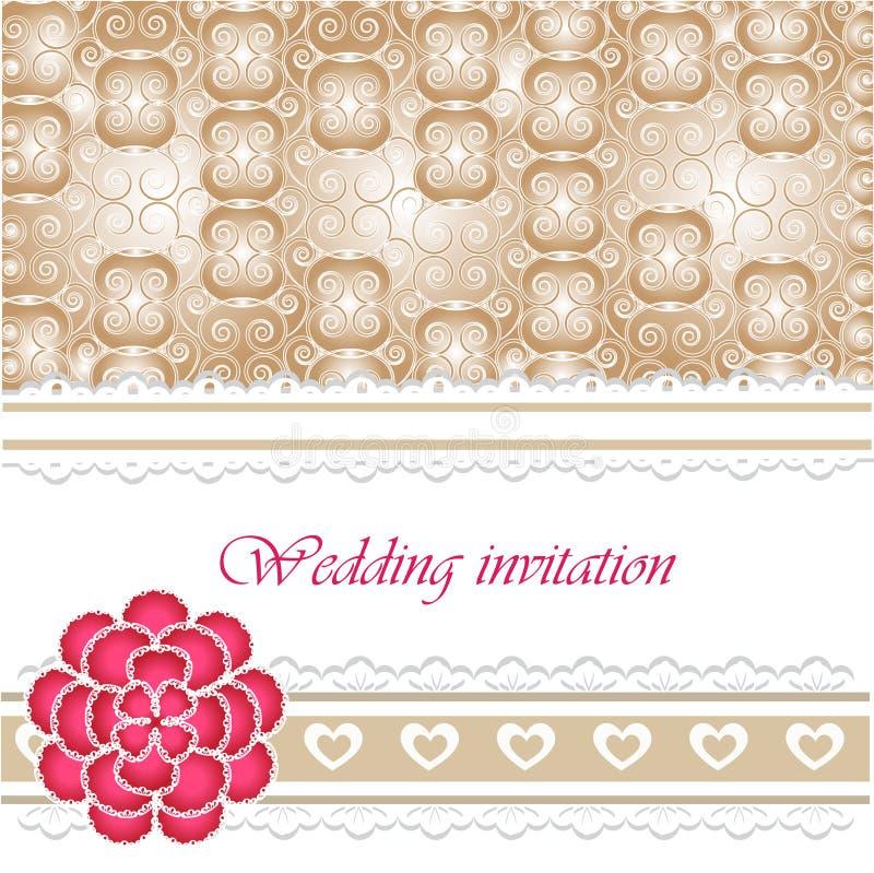 Tarjeta de la invitación de la boda con los elementos del cordón ilustración del vector