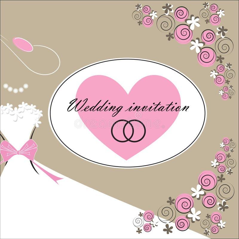 Tarjeta de la invitación de la boda con los elementos florales ilustración del vector