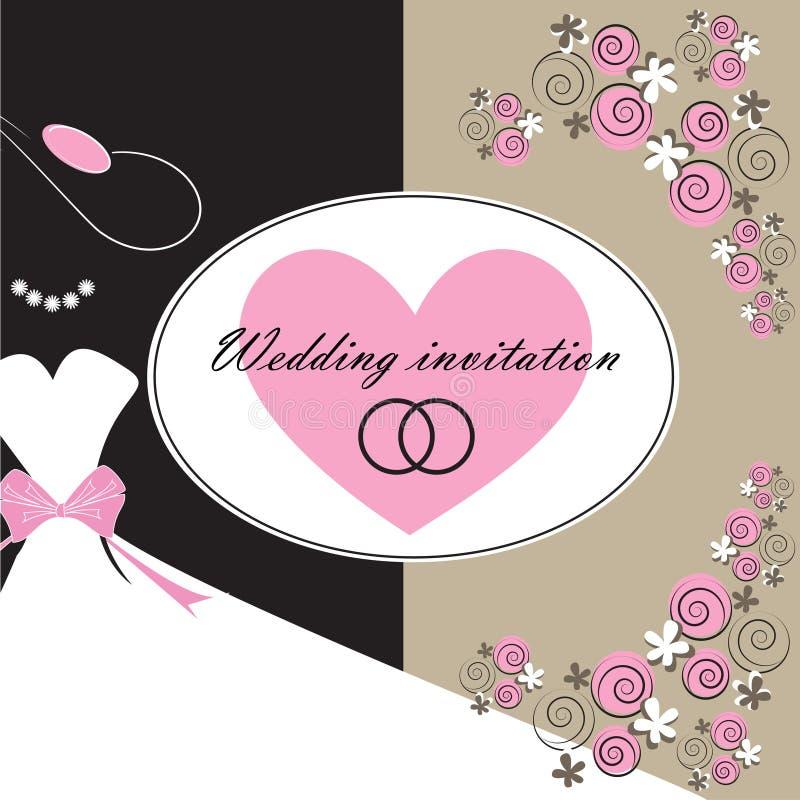 Tarjeta de la invitación de la boda con los elementos florales stock de ilustración