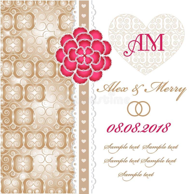 Tarjeta de la invitación de la boda con los elementos florales. libre illustration