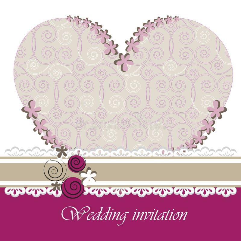 Tarjeta de la invitación de la boda con los elementos florales. ilustración del vector