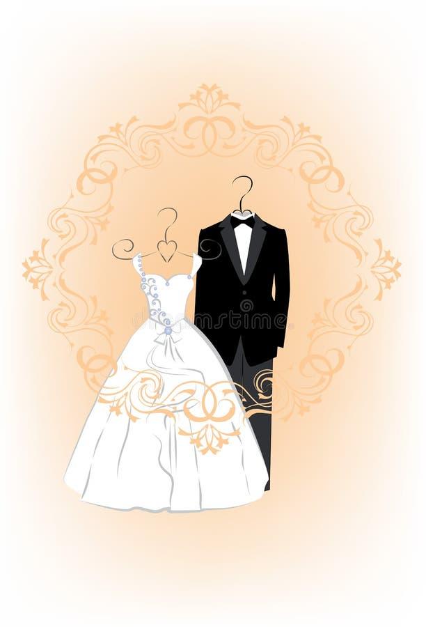 Tarjeta de la invitación de la boda con ropa una novia y un novio stock de ilustración