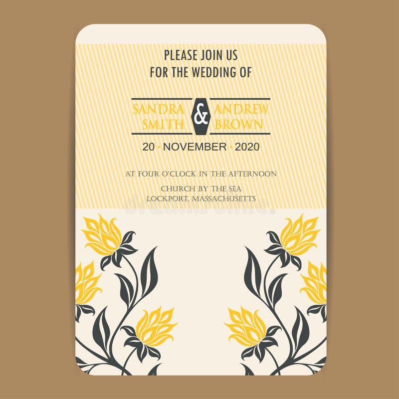 Tarjeta de la invitación de la boda del vintage stock de ilustración
