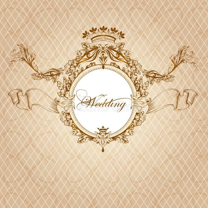 Tarjeta de la invitación de la boda en estilo de lujo del vintage ilustración del vector