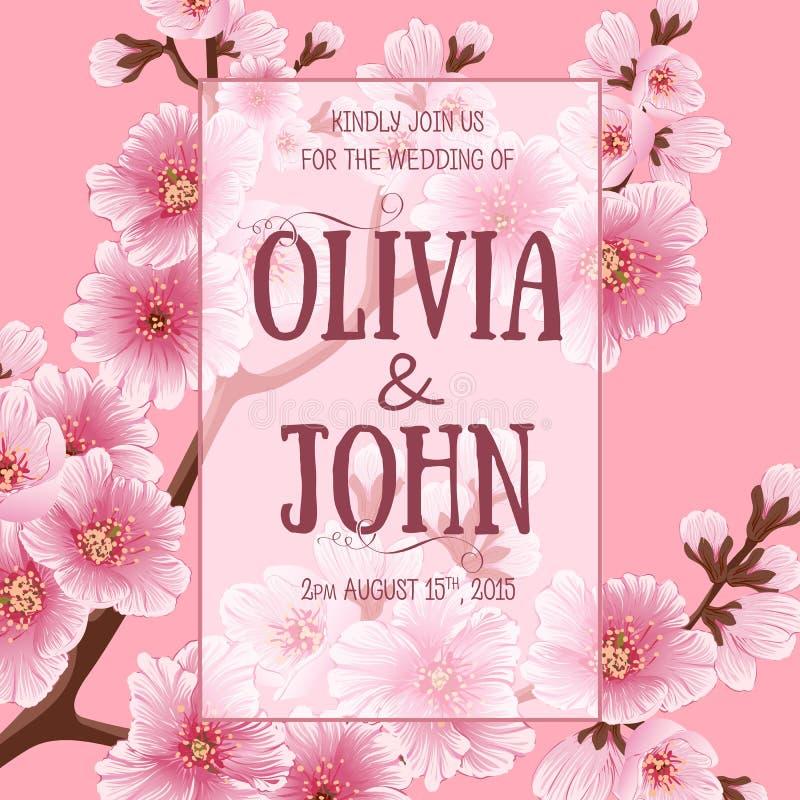 Tarjeta de la invitación de la boda Flores de Sakura, flor de cerezo libre illustration