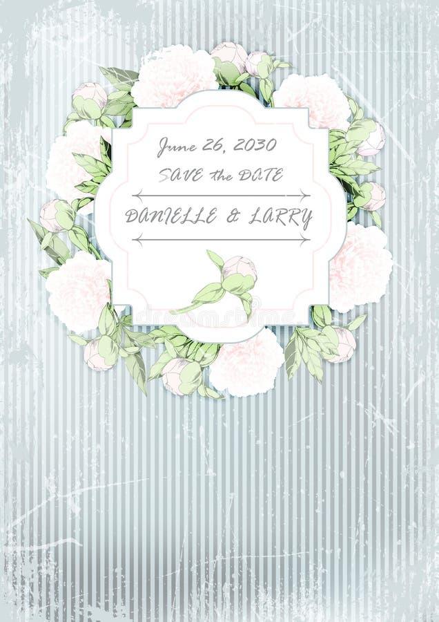 Tarjeta de la invitación de la boda guirnalda de peonías en fondo del grunge Ilustration del vector ilustración del vector