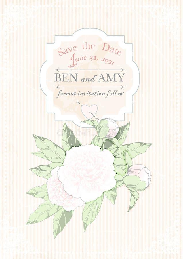 Tarjeta de la invitación de la boda peonías en fondo del rosa del grunge Ilustración del vector stock de ilustración
