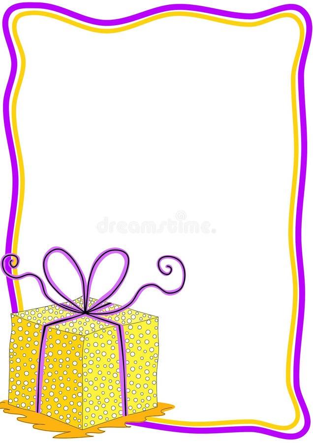 Tarjeta de la invitación de la caja de regalo con el marco ilustración del vector