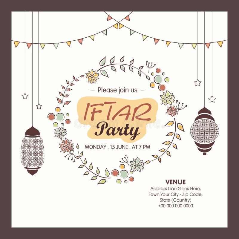 Tarjeta de la invitación de la celebración del partido de Ramadan Kareem Iftar stock de ilustración