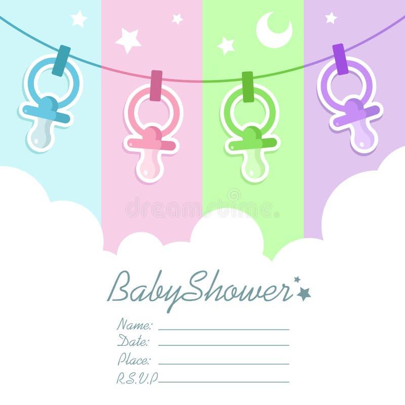 Tarjeta de la invitación de la ducha de bebé ilustración del vector