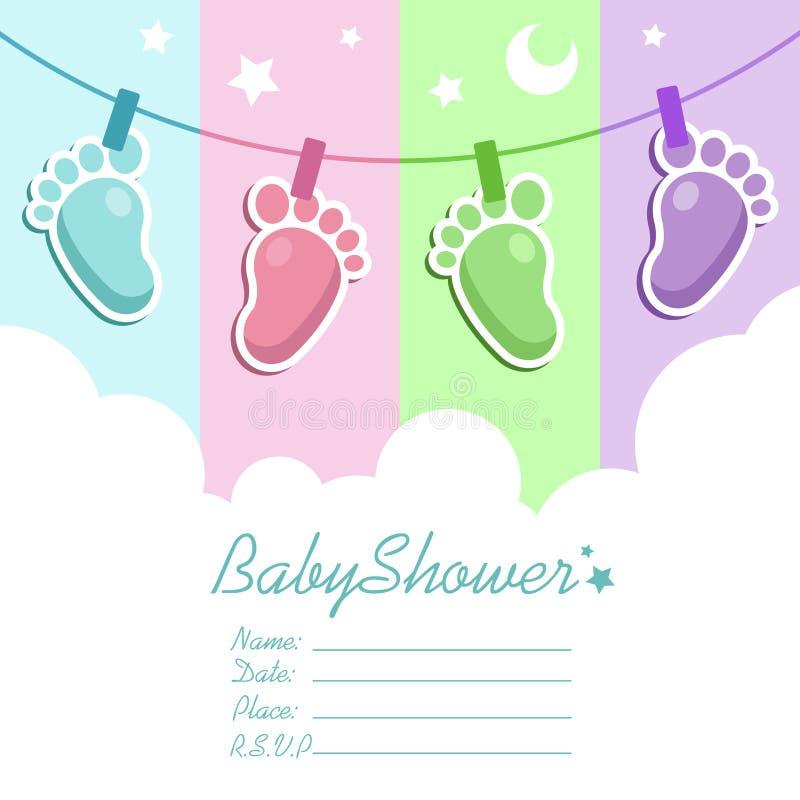 Tarjeta de la invitación de la fiesta de bienvenida al bebé ilustración del vector