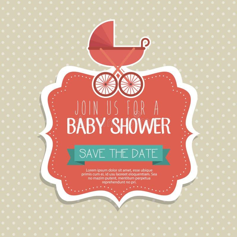 Tarjeta de la invitación de la fiesta de bienvenida al bebé stock de ilustración
