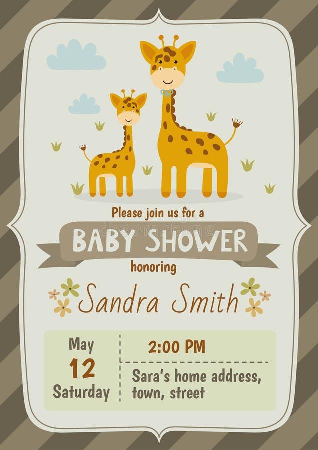 Tarjeta de la invitación de la fiesta de bienvenida al bebé con las jirafas lindas libre illustration