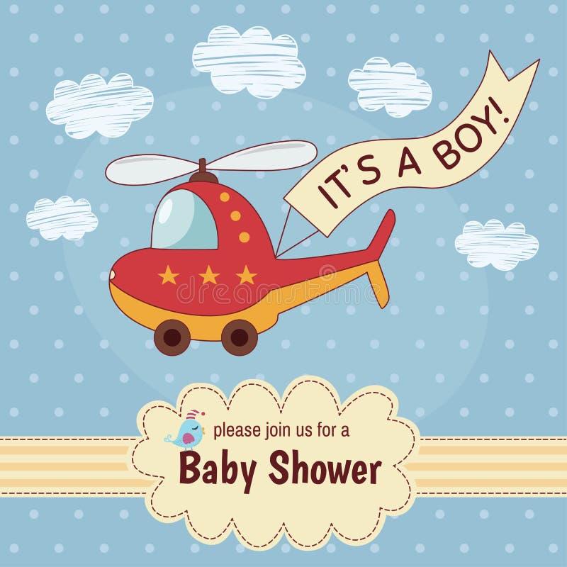 Tarjeta de la invitación de la fiesta de bienvenida al bebé es un muchacho con un helicóptero lindo libre illustration