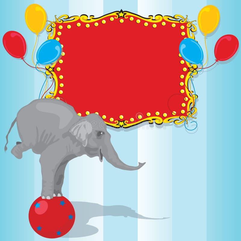 Tarjeta de la invitación de la fiesta de cumpleaños del elefante del circo libre illustration