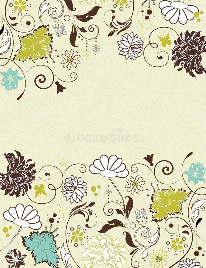 Tarjeta de la invitación de la vendimia con el fondo floral ilustración del vector