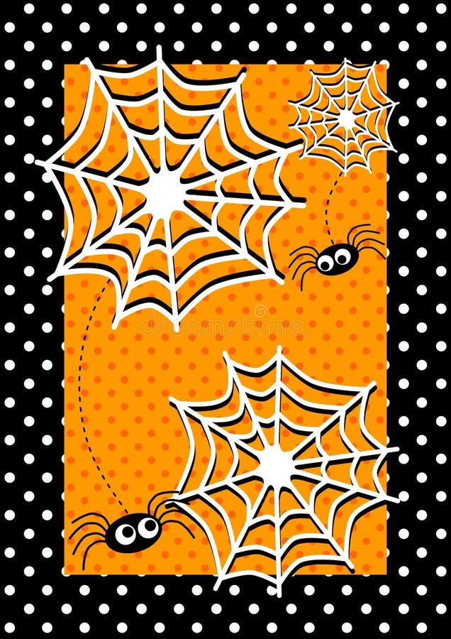 Tarjeta de la invitación de las arañas de Víspera de Todos los Santos ilustración del vector