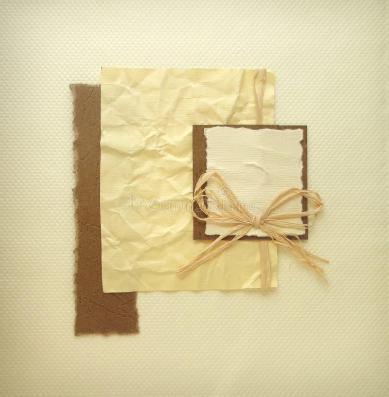 Tarjeta de la invitación del andmade del vintage o cubierta de libro del álbum imagenes de archivo