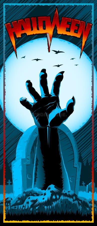 Tarjeta de la invitación del aviador del prospecto de la impresión del vintage de Halloween del cementerio de la mano del zombi stock de ilustración