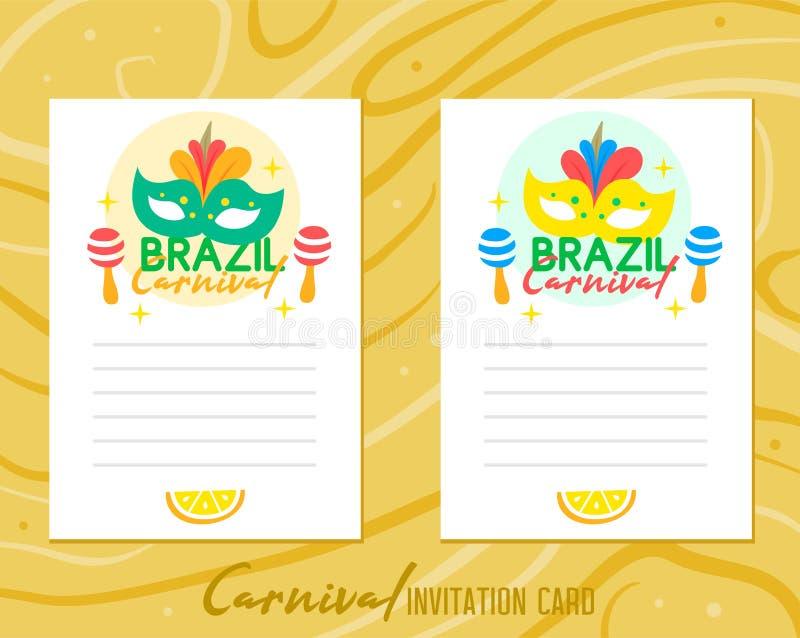 Tarjeta de la invitación del carnaval del Brasil en el fondo de madera foto de archivo