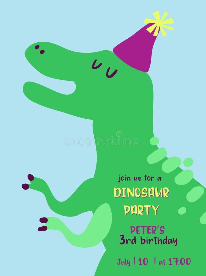 Tarjeta de la invitación del cumpleaños del bebé con el ejemplo del dinosaurio divertido, aviso de la llegada de Dino, saludos libre illustration