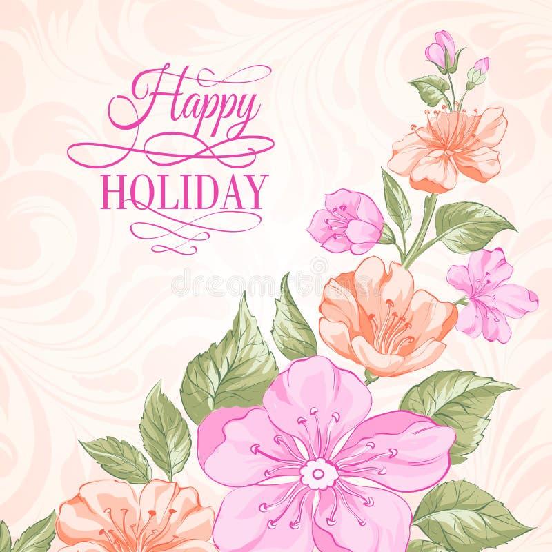 Tarjeta de la invitación del día de fiesta de Sakura. stock de ilustración