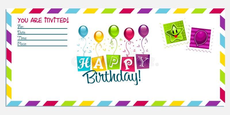 Tarjeta de la invitación del feliz cumpleaños ilustración del vector