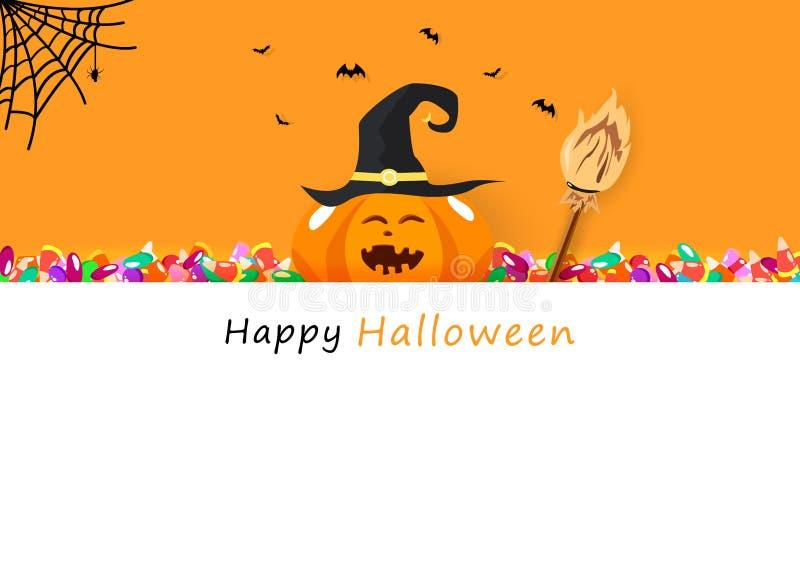 Tarjeta de la invitación del feliz Halloween, caramelo, escoba, arte sonriente del papel de la calabaza linda, vacaciones de la c libre illustration