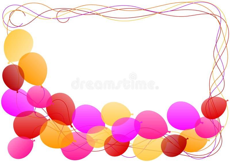 Tarjeta de la invitación del marco de la frontera de los globos stock de ilustración
