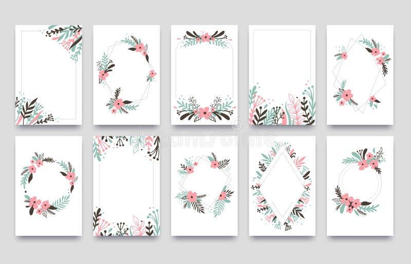 Tarjeta de la invitación del ornamento floral El sauce hojea frontera del marco, las esquinas de los marcos de los ornamentos y l libre illustration
