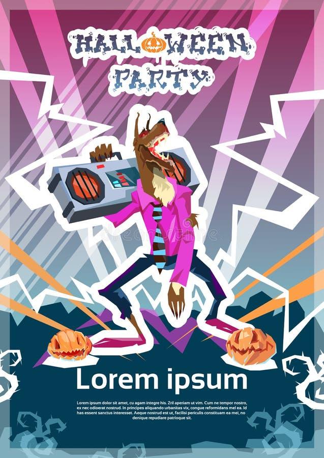Tarjeta de la invitación del partido del feliz Halloween del monstruo de DJ del hombre lobo stock de ilustración