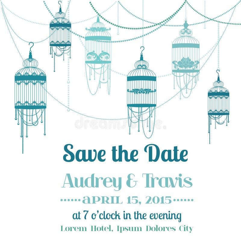 Tarjeta de la invitación del vintage de la boda stock de ilustración