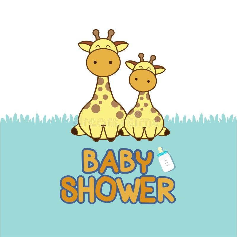 Tarjeta de la invitación de la fiesta de bienvenida al bebé Historieta de la jirafa del bebé stock de ilustración