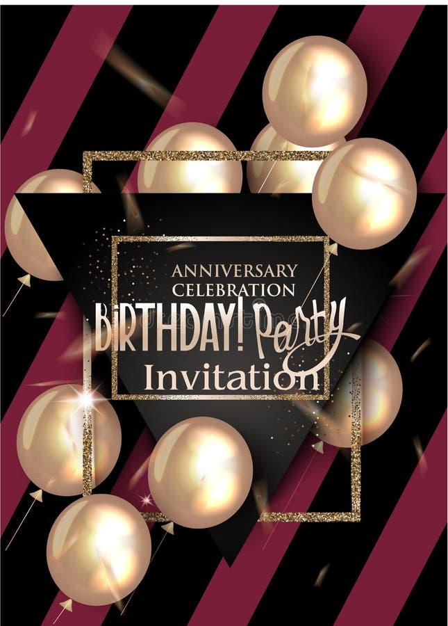 Tarjeta de la invitación de la fiesta de cumpleaños con el fondo de semitono texturizado del efecto, balones de aire libre illustration
