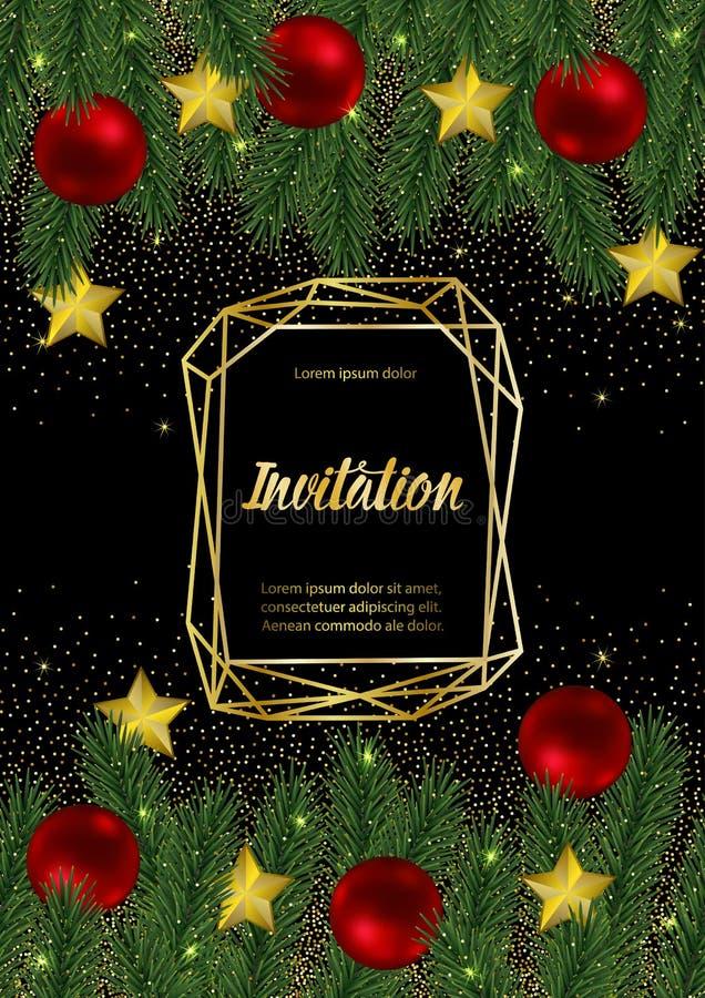 Tarjeta de la invitación de la Navidad y del Año Nuevo con el marco geométrico del oro libre illustration