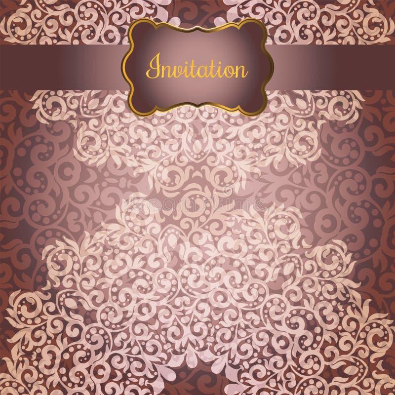 Tarjeta de la invitación o de felicitación de la boda con el lugar floral de la mandala para su texto Elementos decorativos de la libre illustration