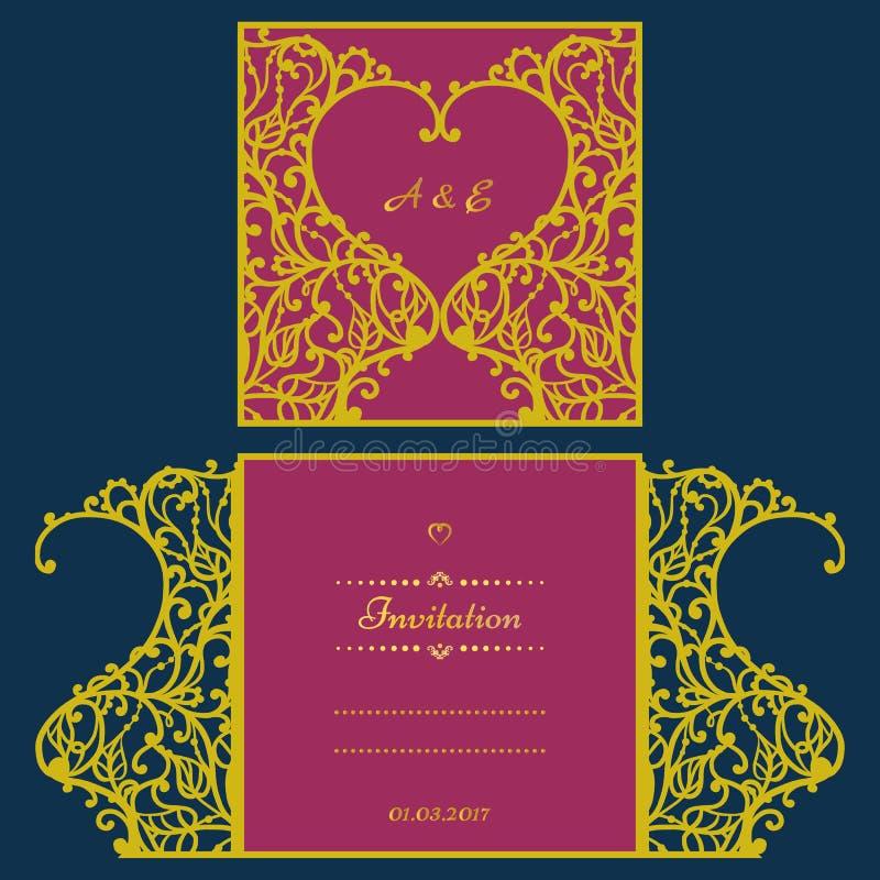 Tarjeta de la invitación o de felicitación de la boda con el ornamento abstracto Plantilla del sobre del vector para el corte del ilustración del vector